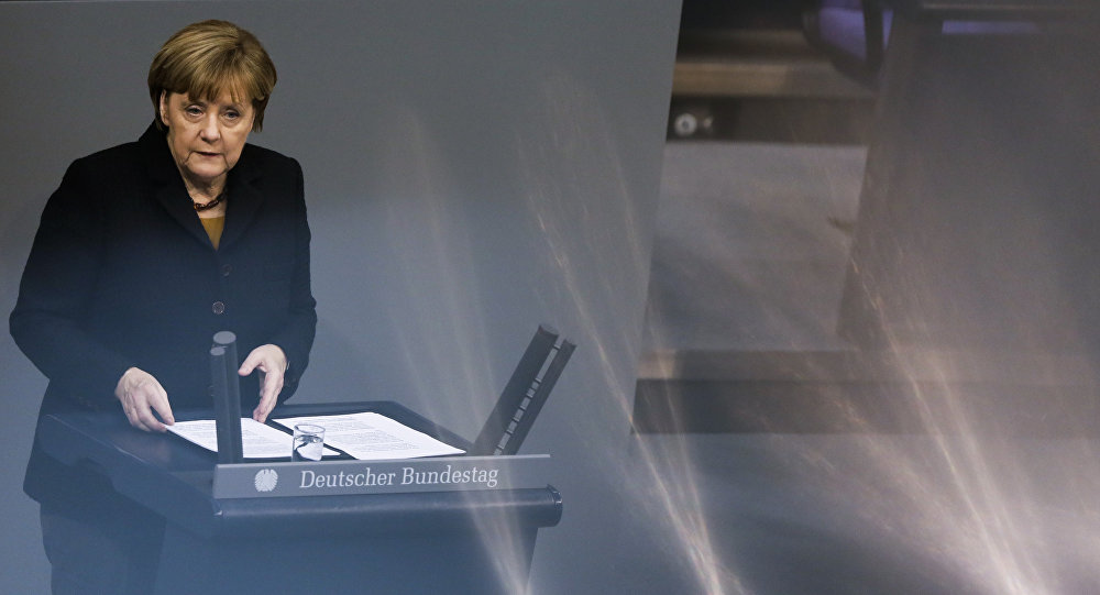 German Chancellor Angela Merkel delivers her speech about the European Summit at the German parliament Bundestag in Berlin, Wednesday, Dec. 16, 2015.