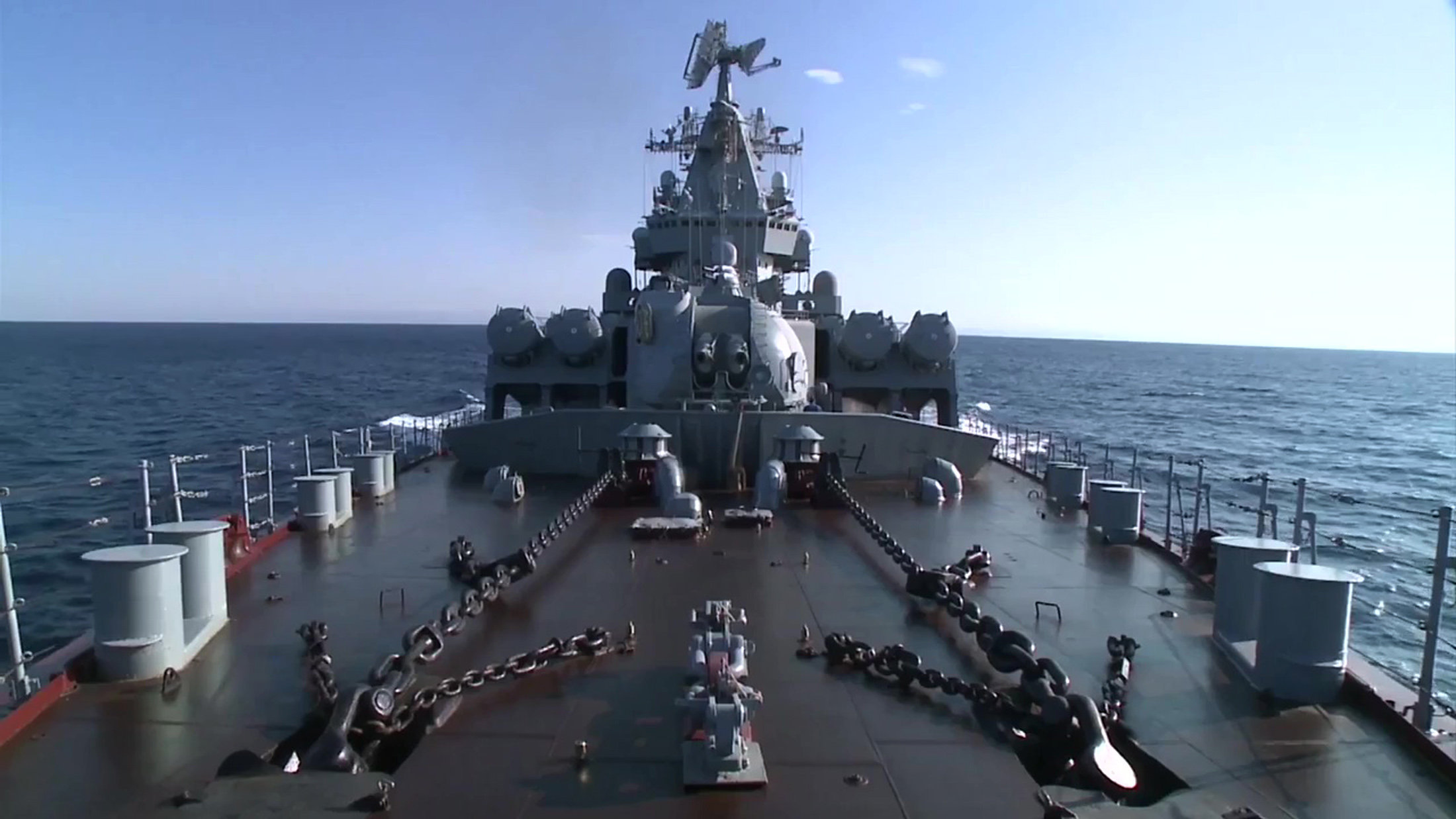 The missile cruiser Moskva has reached the coast of Latakia to perform air defense in the area