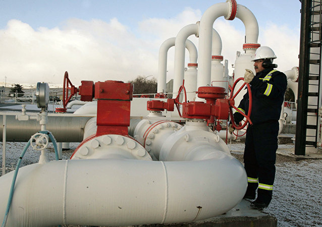 A worker carries out a routine check at a natural gas control centre of Turkey's Petroleum and Pipeline Corporation, 35 km (22 miles) west of Ankara, on January 7, 2009