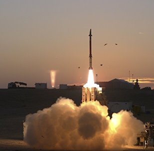 This photograph provided by the Israeli Ministry of Defense on Monday Dec. 21, 2015 shows a launch of David's Sling missile defense system. David's Sling is intended to counter medium-range missiles possessed by enemies throughout the region, most notably the Lebanese Shiite militant group Hezbollah.