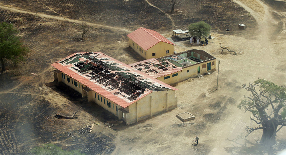 This picture taken on March 5, 2015 shows an arial view of the burnt-out classrooms of a school in Chibok,in Northeastern Nigeria
