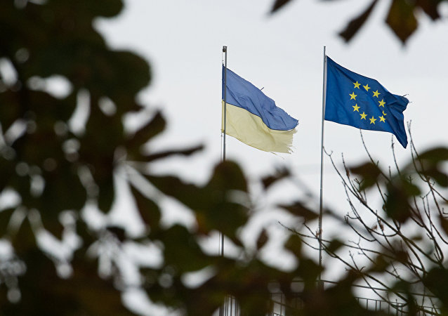 Flags of Ukraine and the European Union in Kiev.
