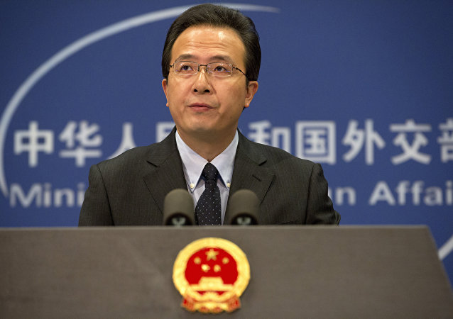 Chinese foreign ministry spokesman Hong Lei speaks during a daily briefing at the Ministry of Foreign Affairs office in Beijing, China. (File)