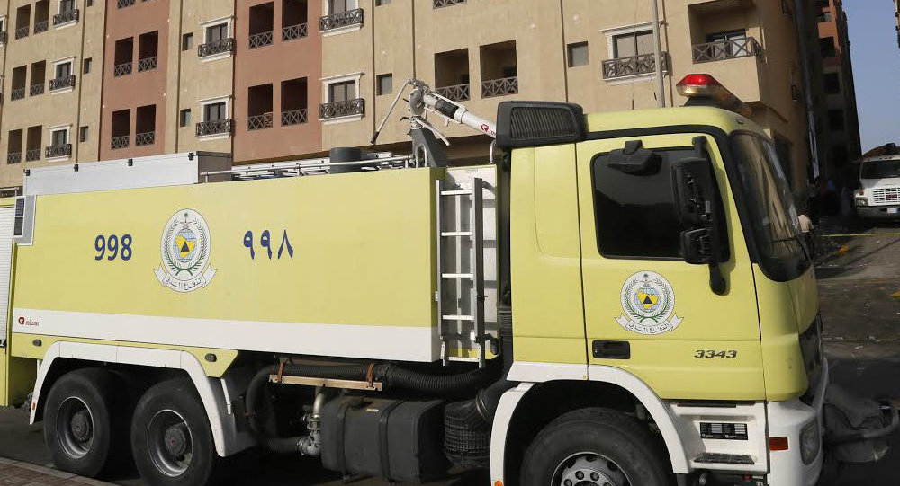 A Saudi firefighter truck. File photo