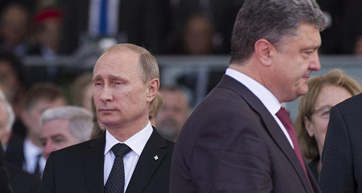 President Vladimir Putin (left) and Ukrainian President Petro Poroshenko.
