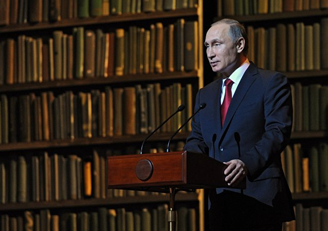 Russian President Vladimir Putin speaks at the ceremony closing the Year of Literature and opening the Year of Cinema at the State Academic Mariinsky Theater's Second Stage, December 14, 2015