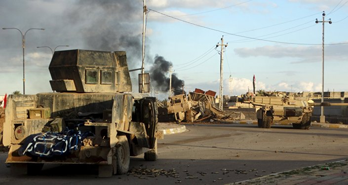 Iraqi security forces' vehicles are seen in the city of Ramadi, January 2, 2016. Picture taken January 2, 2016