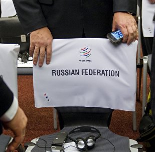 A delegate of the Russian delegation takes a seat prior to the start of a World Trade Organization ministerial meeting to give its second and final approval for Russia's membership in the trade body after a record 18-year quest to join, on December 16, 2011 in Geneva