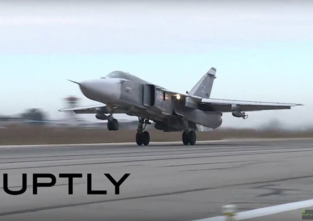 Russian Sukhoi Su-24s and Su-25s continue taking off from Hmeymim Airbase in Syria