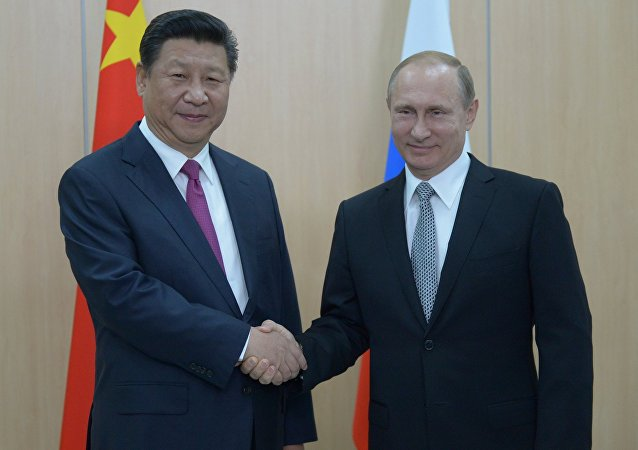 President of the Russian Federation Vladimir Putin meets with President of the People's Republic of China Xi Jinping