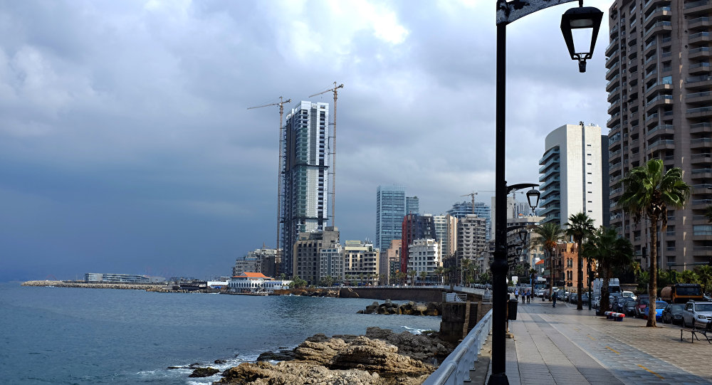 The skyline of Beirut's corniche is seen on October 7, 2015