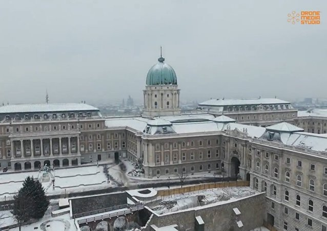 Drone video shows Budapest in winter