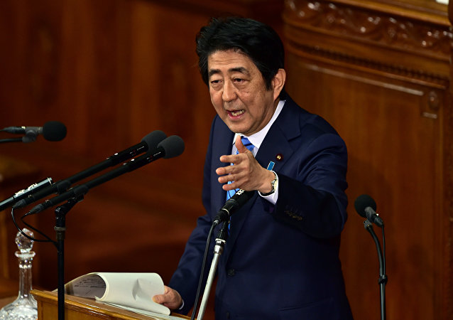Japanese Prime Minister Shinzo Abe delivers a speech at the Lower House's plenary session following a North Korean nuclear test, at the National Diet in Tokyo on January 6, 2016.