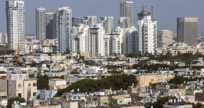 A general view taken shows buildings in the Israeli Mediterranean coastal city of Tel Aviv