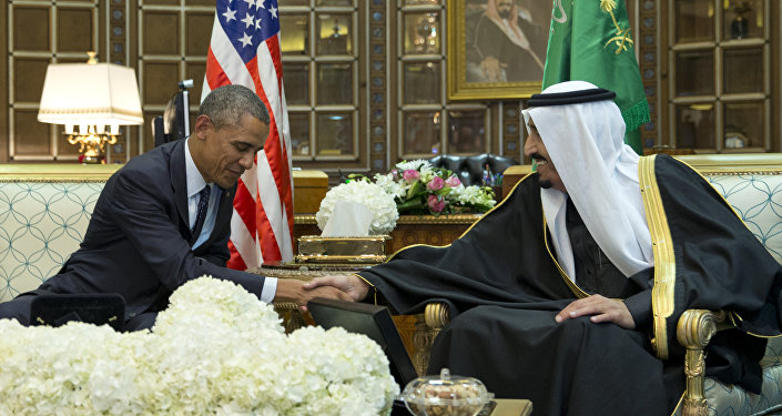President Barack Obama and new Saudi Arabian King, Salman bin Abdul Aziz, are photographed as they shake hands in a bilateral meeting at Erga Palace in Riyadh, Saudi Arabia, Tuesday, Jan. 27, 2015