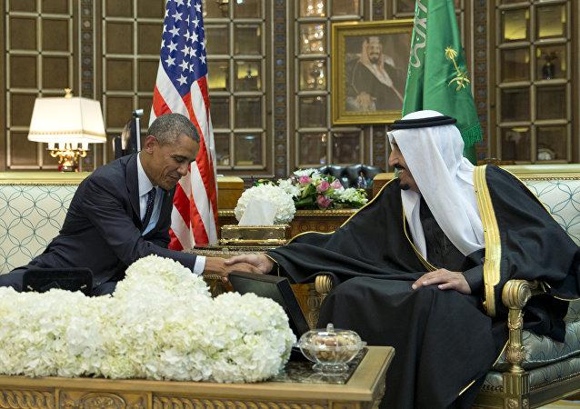 President Barack Obama and new Saudi Arabian King, Salman bin Abdul Aziz, are photographed as they shake hands in a bilateral meeting at Erga Palace in Riyadh, Saudi Arabia, Tuesday, Jan. 27, 2015