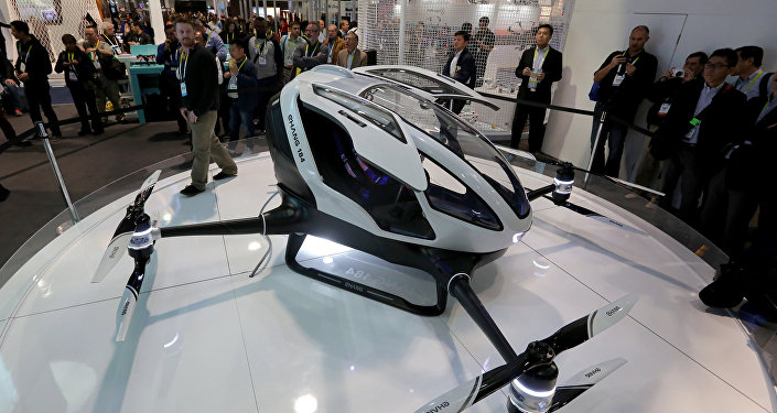 The newly-launched EHang 184 AAV (Autonomous Aerial Vehicle) that can autonomously fly a human passenger, programmed with an app, is displayed at the CES 2016 Consumer Electronics Show in Las Vegas, Nevada on January 7, 2016