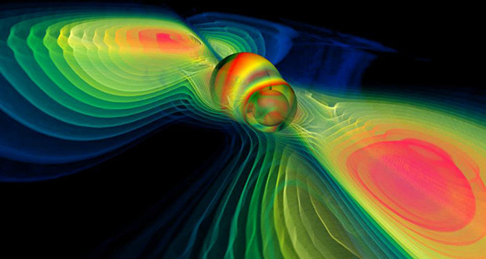 Numerical simulation of two merging black holes performed by the Albert Einstein Institute in Germany: what this rendition shows through colors is the degree of perturbation of the spacetime fabric, the so-called gravitational waves