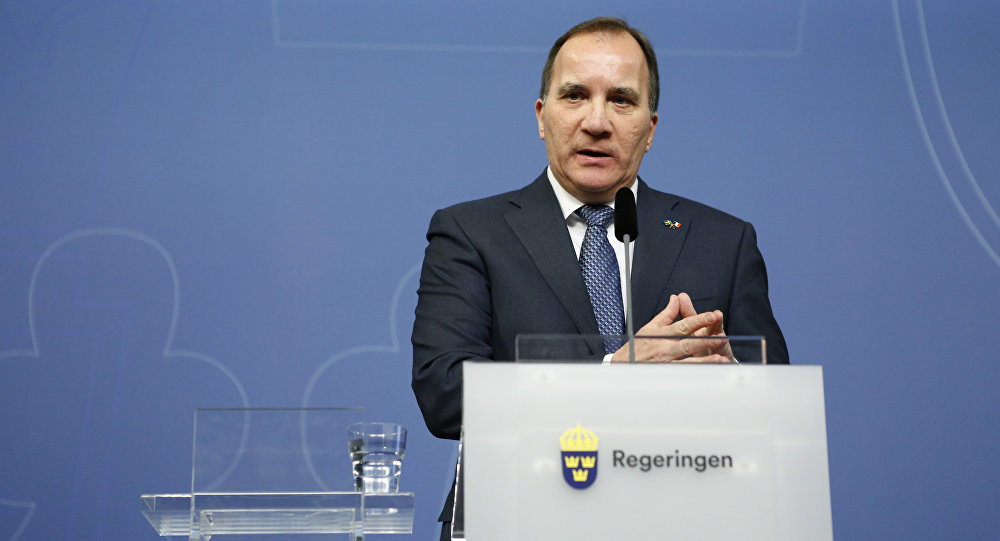 Sweden's Prime Minister Stefan Lofven speaks during a press conference.
