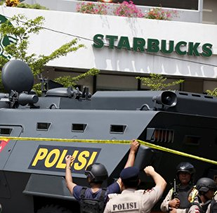 A police armoured personnel carrier is seen parked near the scene of an attack in central Jakarta January 14, 2016.