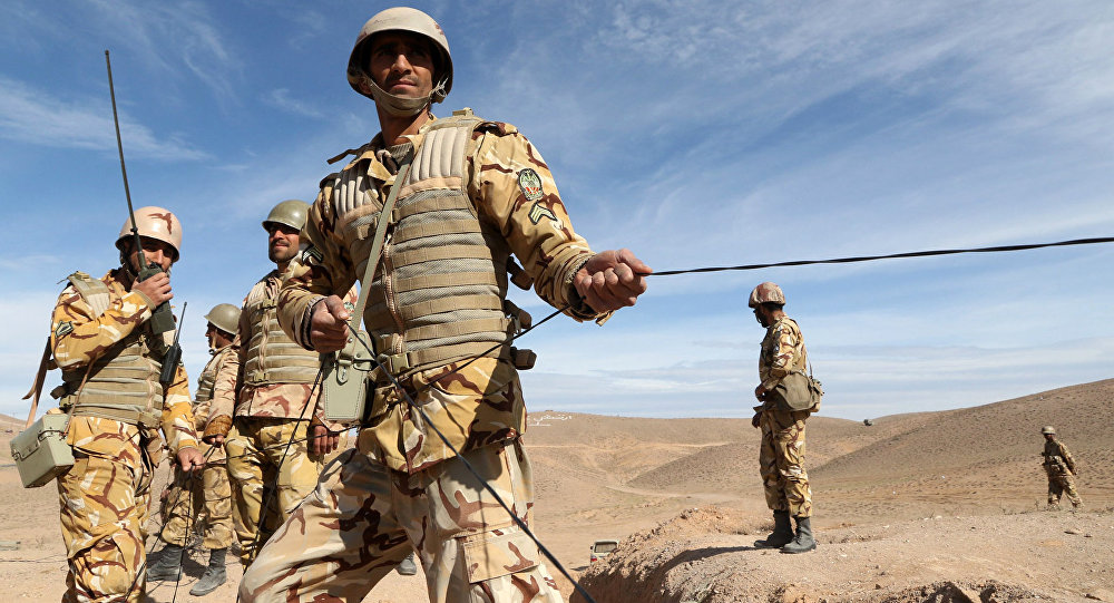 Iranian soldiers participate in military manoeuvres. File photo