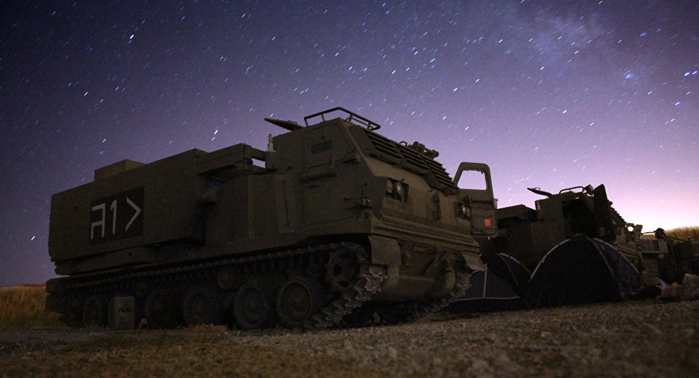 M-270 MLRS Launcher at night