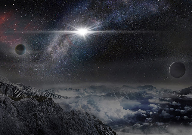 This image provided by The Kavli Foundation on Thursday, Jan. 14, 2016 shows an artist's impression of the superluminous supernova ASASSN-15lh as it would appear from an exoplanet located about 10,000 light-years away in the host galaxy of the supernova