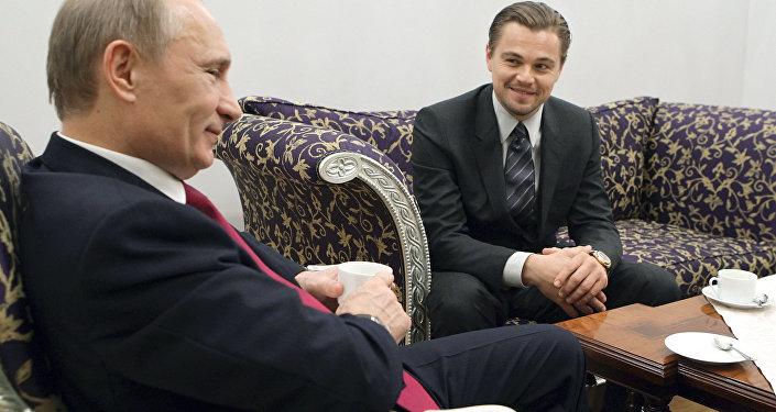 Встреча Владимира Путина и Леонардо Ди Каприо в Санкт-Петербурге