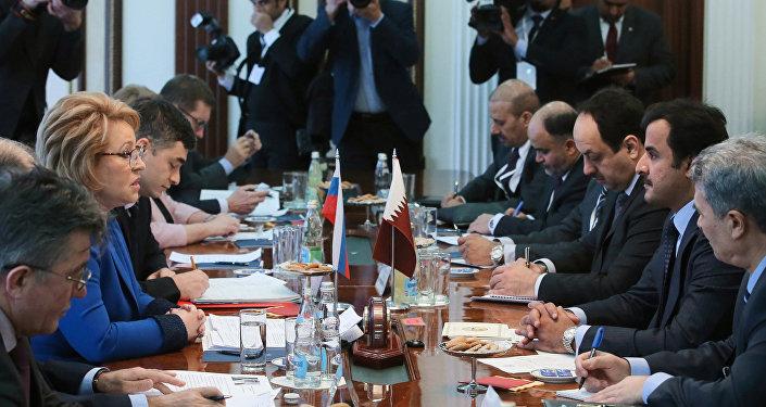 Russian Federation Council Chairman Valentina Matviyenko meets with Qatar Emir Tamim Bin Hamad Al Thani