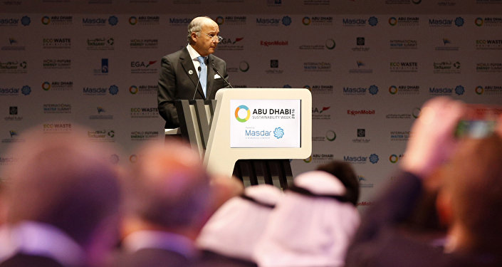 French Foreign Minister Laurent Fabius gives a speech during the 9th edition of the World Future Energy Summit on January 18, 2016 in the UAE capital Abu Dhabi