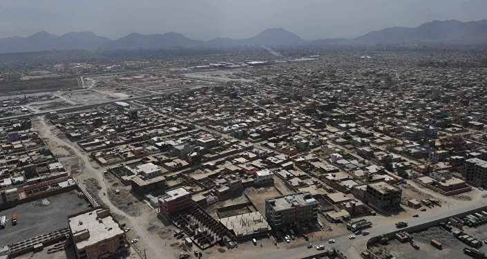 The skyline of Kabul is pictured during a helicopter flight from Kabul to Bagram Air Base for a prison handover ceremony on September 10, 2012