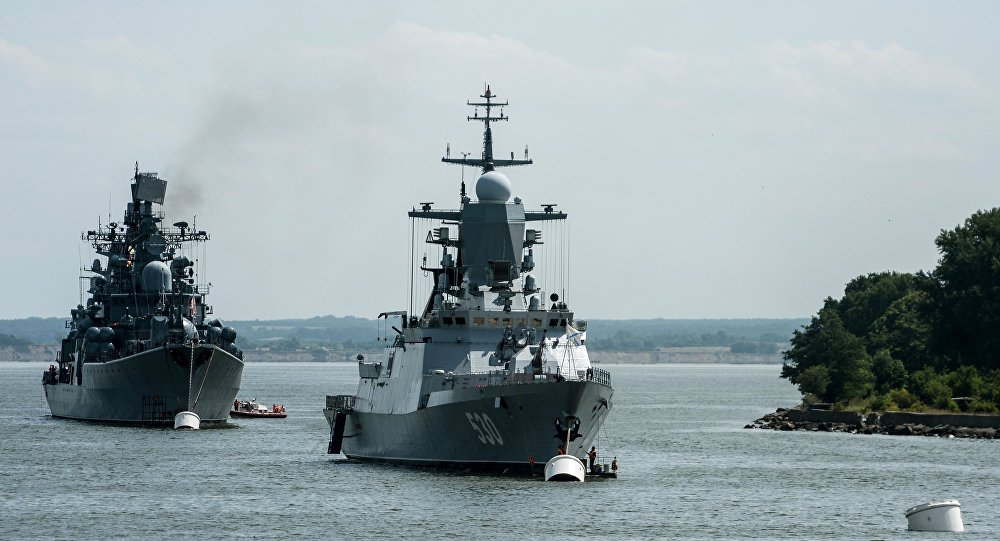 The corvette Steregushchy, (project 20380), right , and the destroyer Nastoichivy in Baltiysk, Kaliningrad region.
