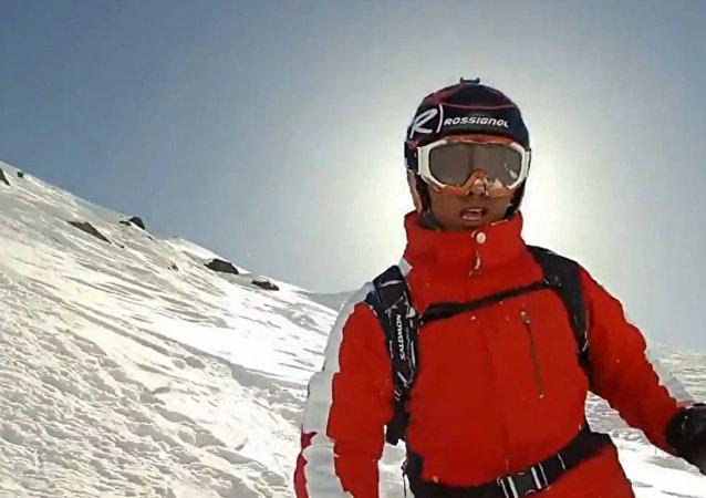 Skier faceplants into fresh powder.