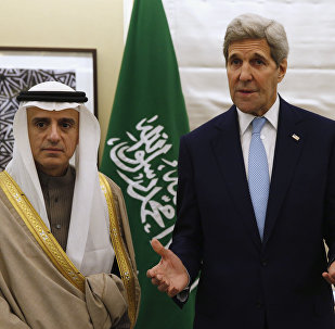 US Secretary of State John Kerry, right, speaks during his meeting with Saudi Arabia's Foreign Minister, Adel al-Jubeir.