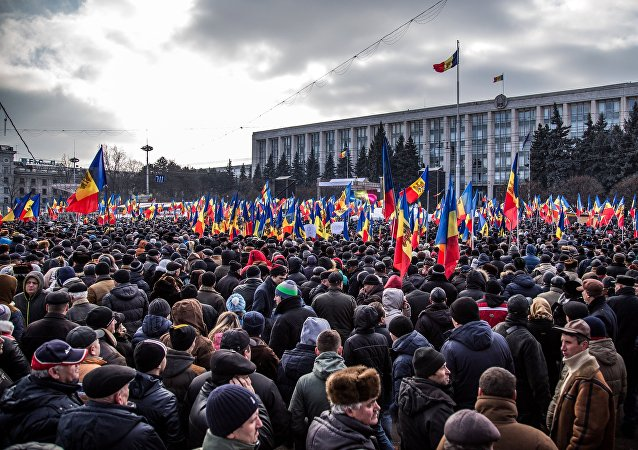Participants in the anti-government rally in Chisinau