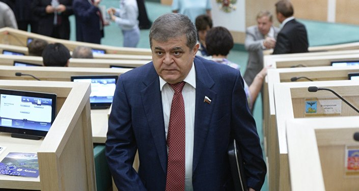 Vladimir Dzhabarov, first deputy chairman of the Federation Council Committee for International Affairs, at a meeting of the Federation Council