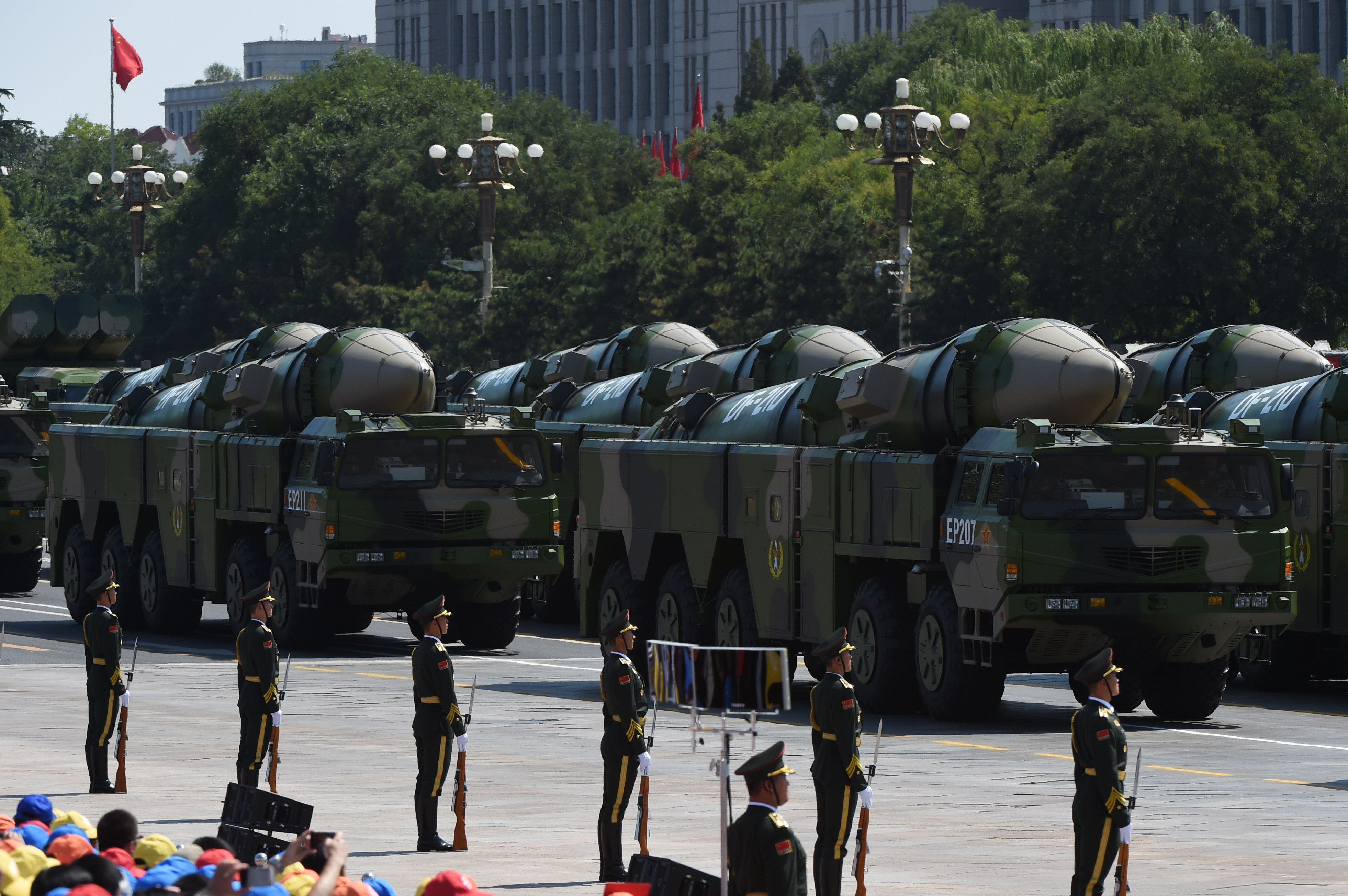 Military vehicles carrying DF-21D missiles are displayed in a military parade at Tiananmen Square in Beijing on September 3, 2015, marking the 70th anniversary of victory over Japan and the end of World War II