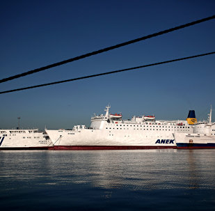 Ferries remain docked at the port of Piraeus, southwest of central Athens, during strike (file photo)