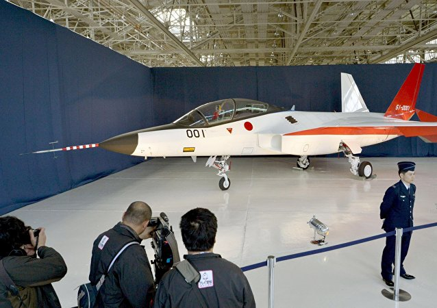 A prototype of the first Japan-made stealth fighter is pictured at a Mitsubishi Heavy Industries' factory in Toyoyama town, Aichi Prefecture, central Japan, in this photo taken by Kyodo January 28, 2016