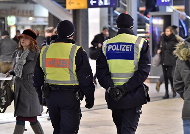 Police patrol in the main train station in Cologne, Germany.