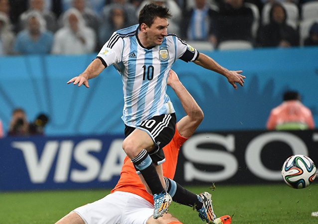 Argentina's Lionel Messi (top) during a semifinal game of the 2014 FIFA World Cup between Netherlands and Argentina at the Arena Corinthians in Sao Paulo. (File)