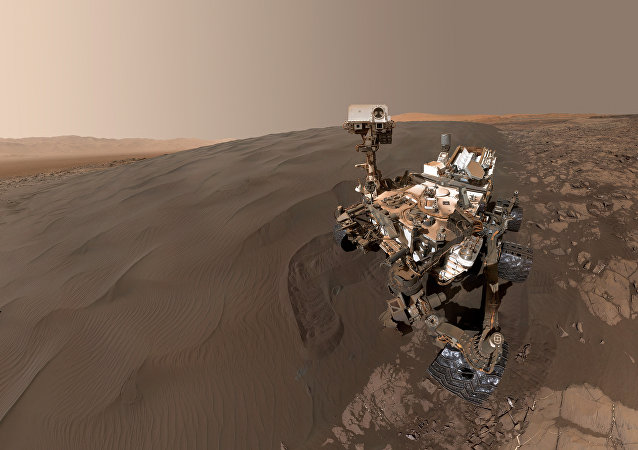 This Image obtained January 31, 2016 from NASA shows a self-portrait of NASA's Curiosity Mars rover vehicle at Namib Dune, where the rover's activities included scuffing into the dune with a wheel and scooping samples of sand for laboratory analysis.