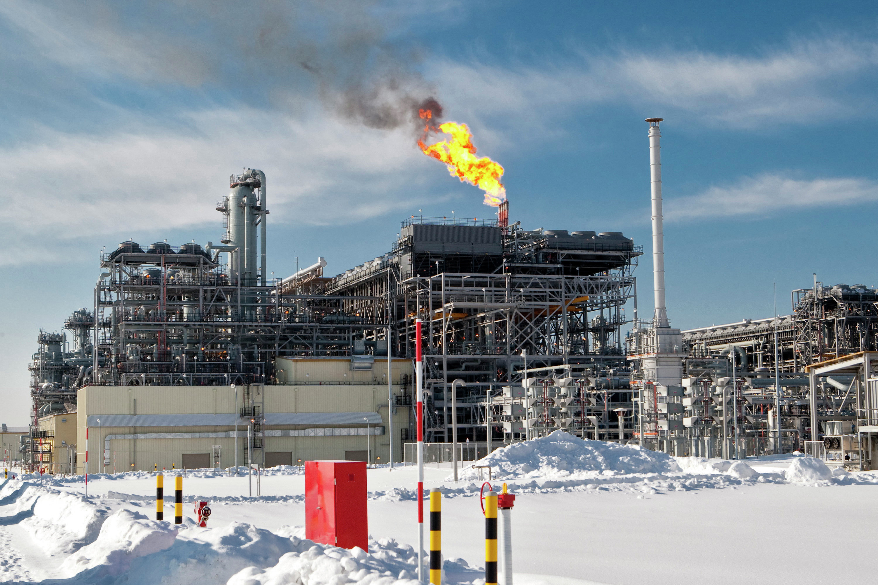 The flare system at Russia's first liquefied natural gas (LNG) plant (the Sakhalin II project), built by Sakhalin Energy Investment Company Ltd. in the village of Prigorodnoye in southern Sakhalin. The island has been turned into a major source of energy in Russia's Far East.
