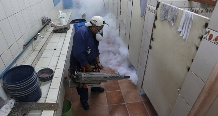 A municipal health worker fumigates the restroom of a school as part of the city's efforts to prevent the spread of the Zika virus vector, the Aedes aegypti mosquito, at the Nueva Suyapa neighbourhood in Tegucigalpa, Honduras, February 3, 2016