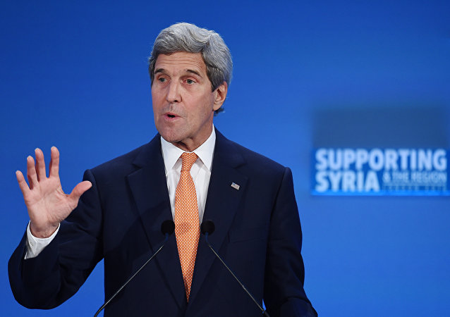US Secretary of State John Kerry addresses delegates during during a donor conference entitled 'Supporting Syria & The Region' at the QEII centre in central London on February 4, 2016