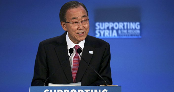 United Nations Secretary-General Ban Ki-moon speaks at the donors Conference for Syria in London, Britain February 4, 2016