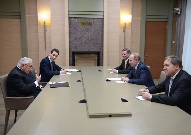 Russian President Vladimir Putin's meeting with former U.S. Secretary of State Henry Kissinger