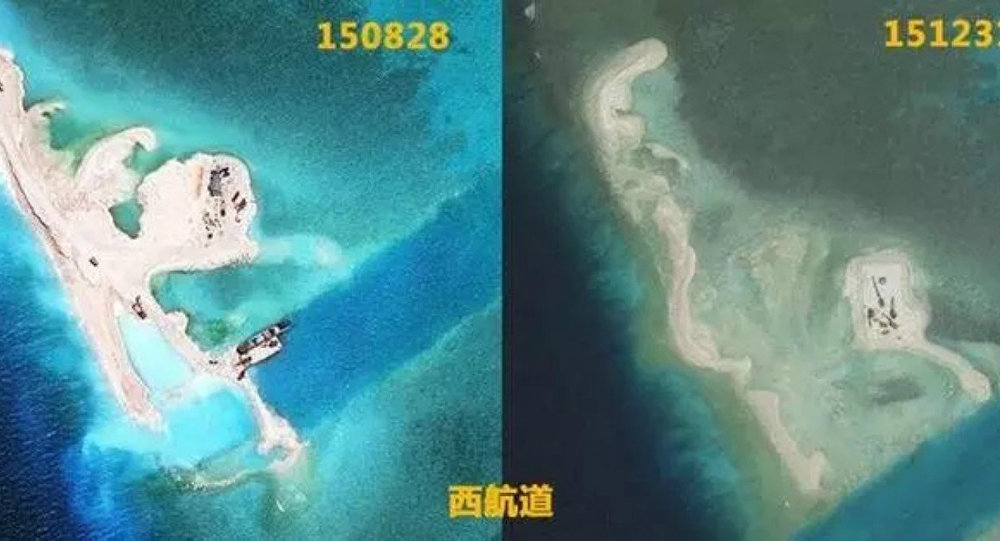 Nanhua Reef : Before (L) and after (R) the Typhoon Jamine