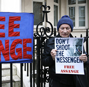 A demonstrator holds a banner outside the Ecuadorean Embassy in London, where Wikileaks founder Julian Assange is staying, Thursday, Feb. 4, 2016