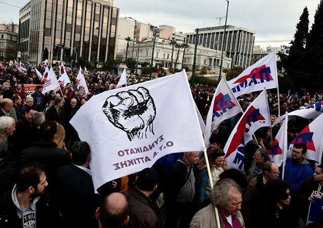 Protesters gather in front of the Greek parliament in Athens during a massive protest rally on February 4, 2016